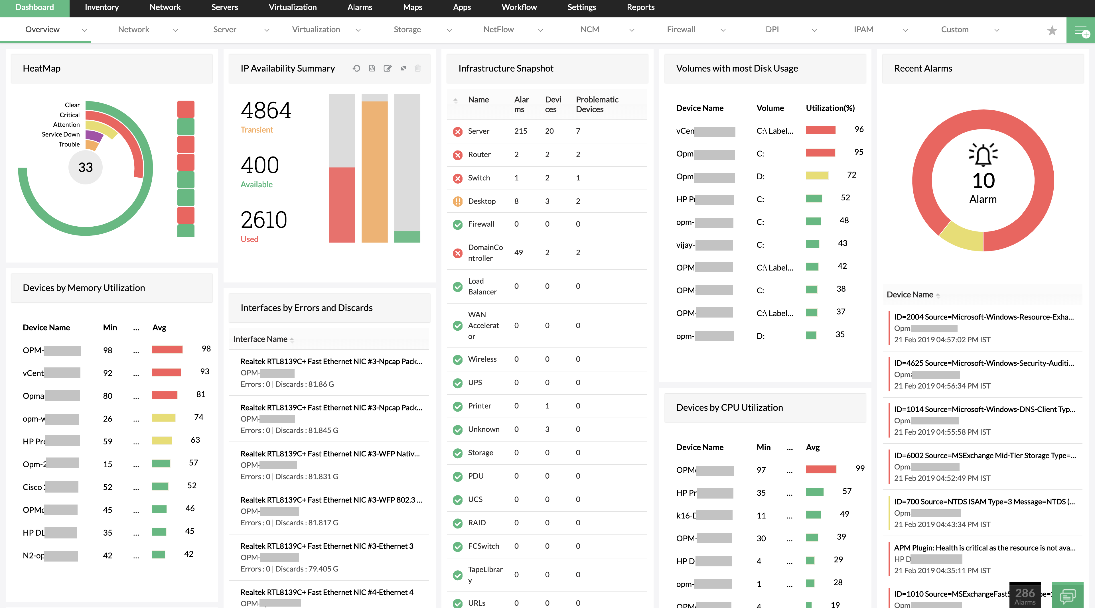Network Monitoring Dashboard - ManagEngine OpManager