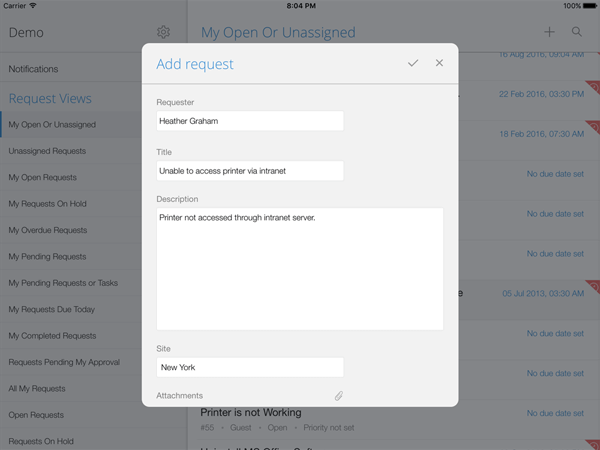Add helpdesk requests from your mobile