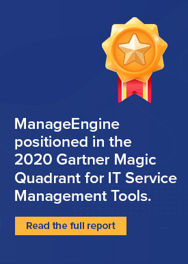 ManageEngine positioned in the 2020 Gartner ITSM Magic Quadrant.