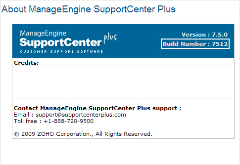 Locate SupportCenter Plus Build Number